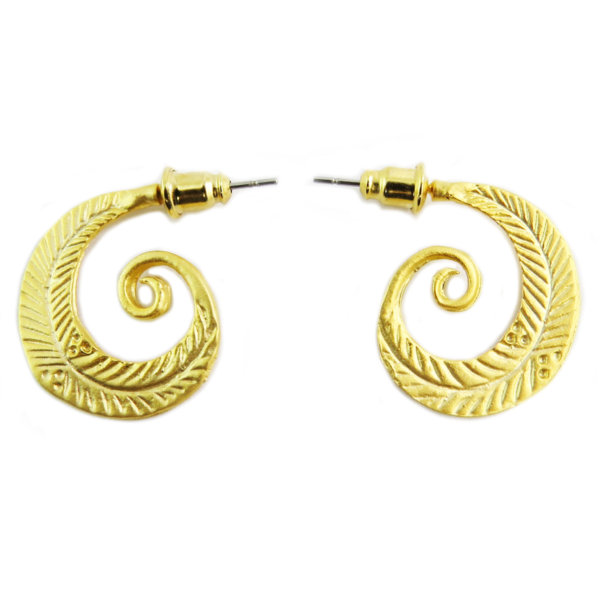 Boucles artisanales \'Cléopatra\' doré  - 20 mm - [Q5641]