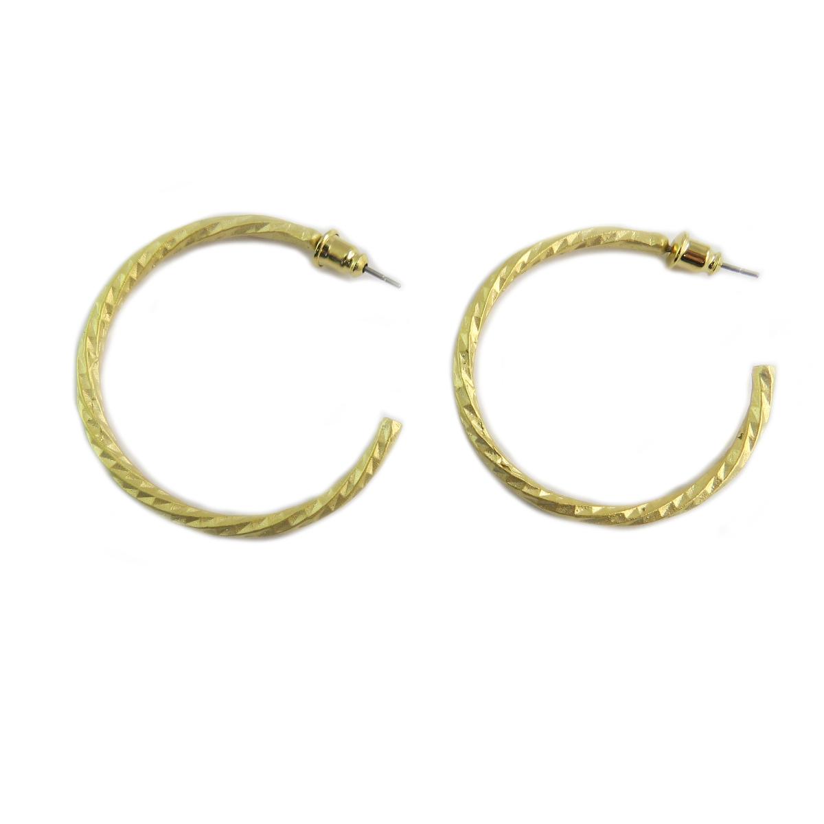 Boucles artisanales \'Cléopatra\' doré  - 40 mm 3 mm - [Q5642]