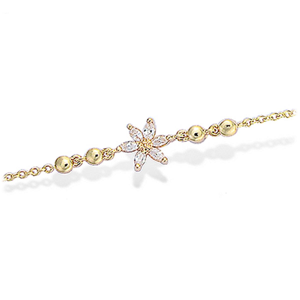 Bracelet Plaqué or \'Flora\' blanc doré - 7 mm - [L1301]