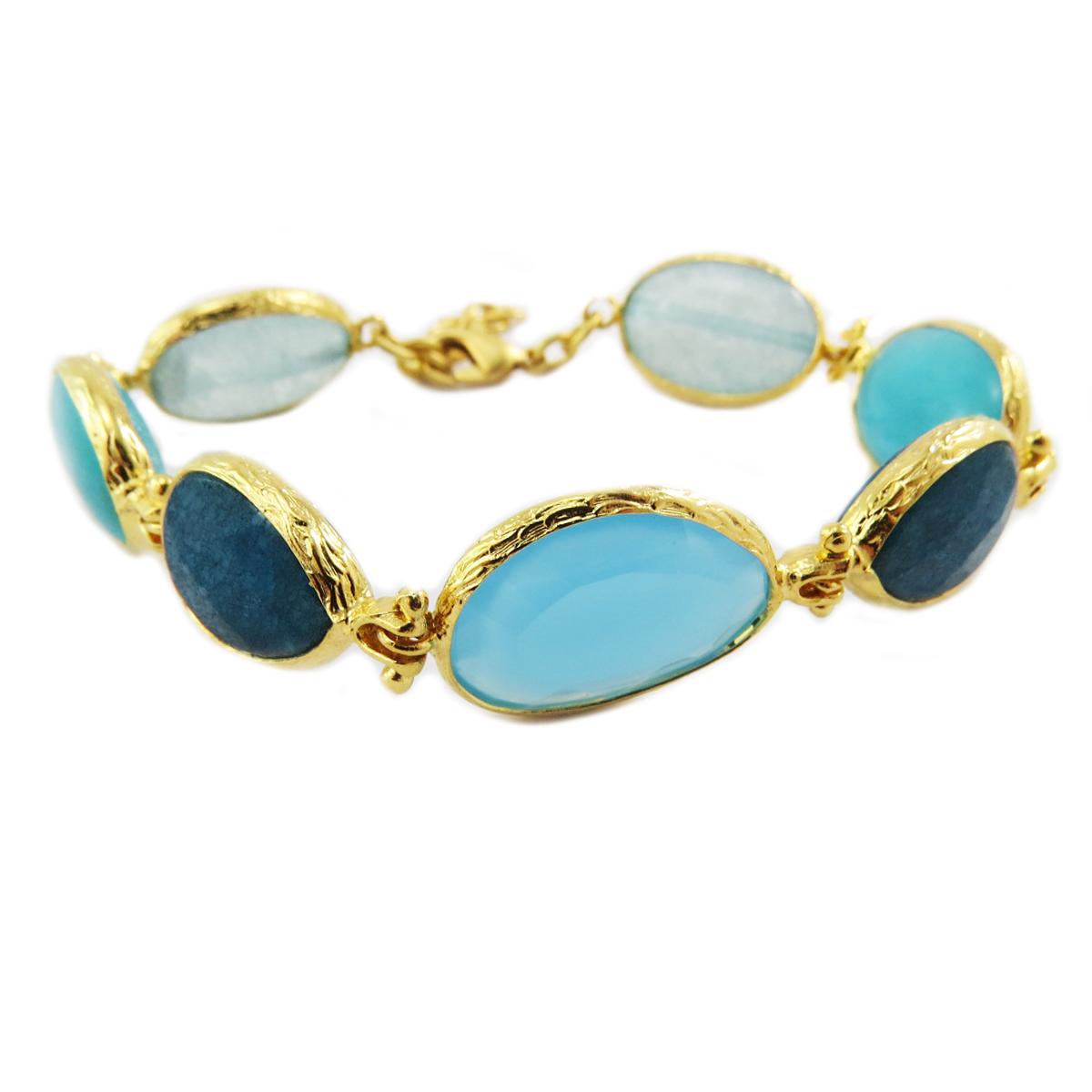 Bracelet artisanal \'Cléopatra\' turquoise doré - largeur 15 mm - [Q5661]