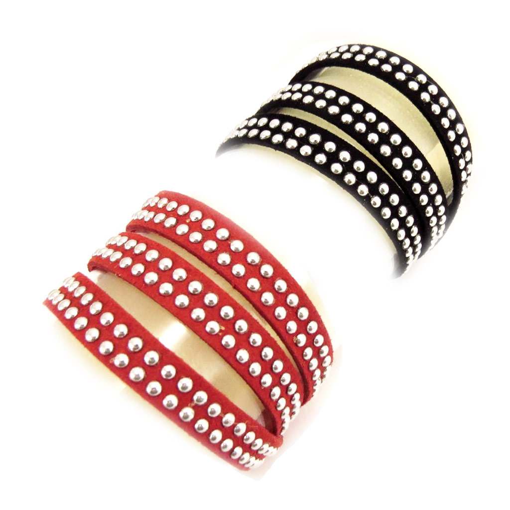 2 bracelets Créateur \'Sissi\' rouge noir (3 tours) - [L1353]