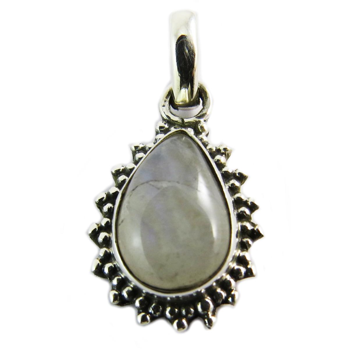 Pendentif Argent \'Heaven\' pierre de lune - 15x12 mm - [Q5685]