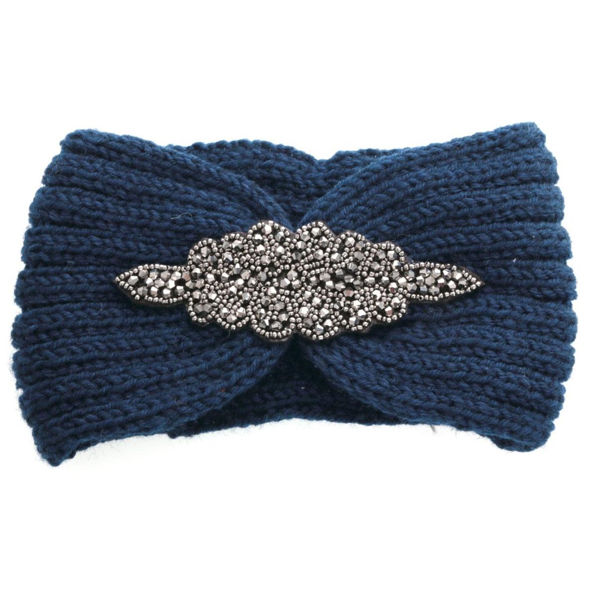 Bandeau créateur \'Scarlett\' bleu - largeur 13 cm - [Q5749]