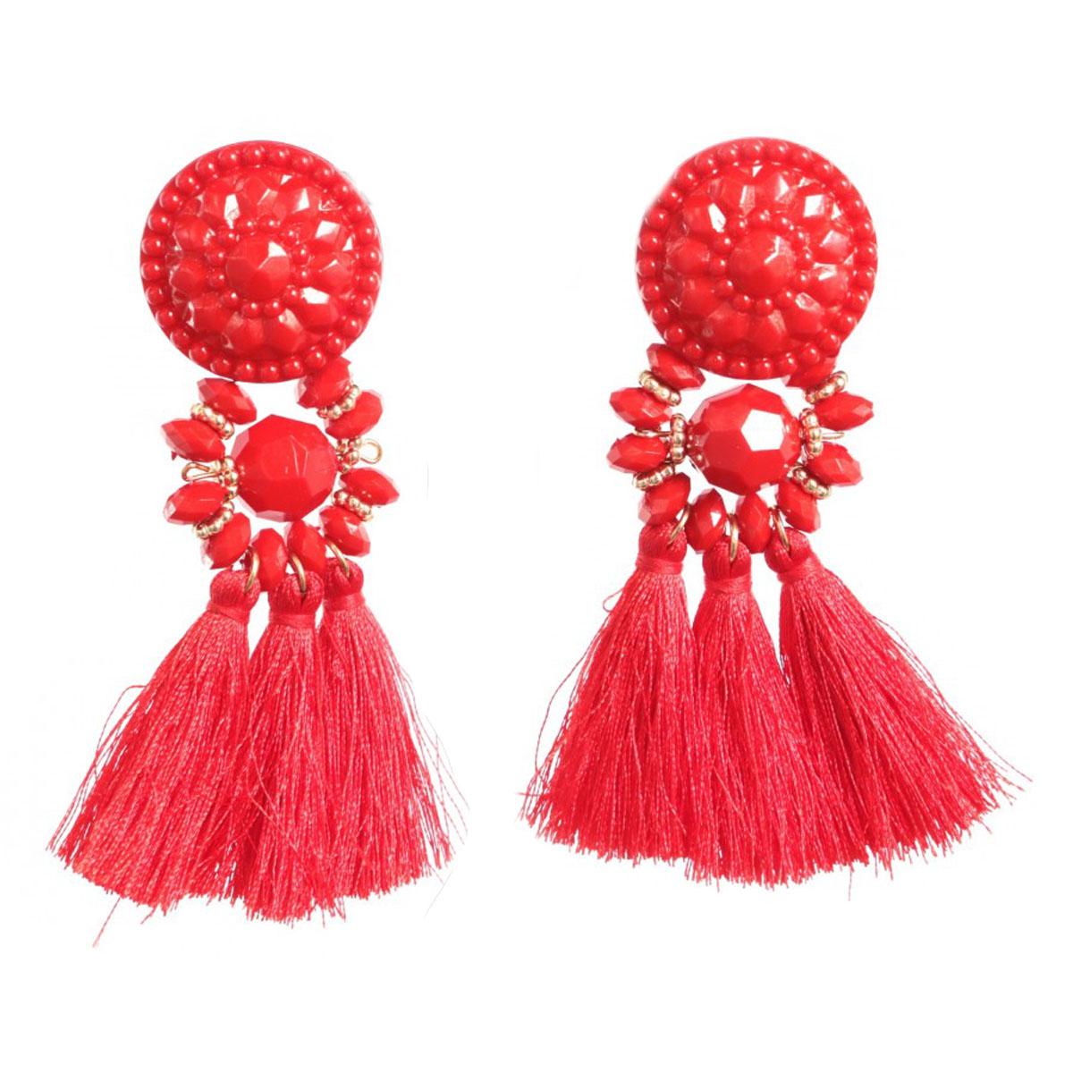 Boucles Créateur \'Tahitienne\' rouge doré - 90x50 mm - [Q5757]