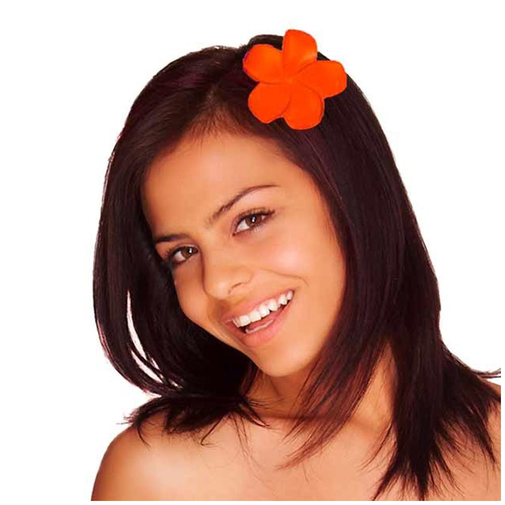 Pince fleur \'Vahiné\' orange - 5 cm - [Q5873]