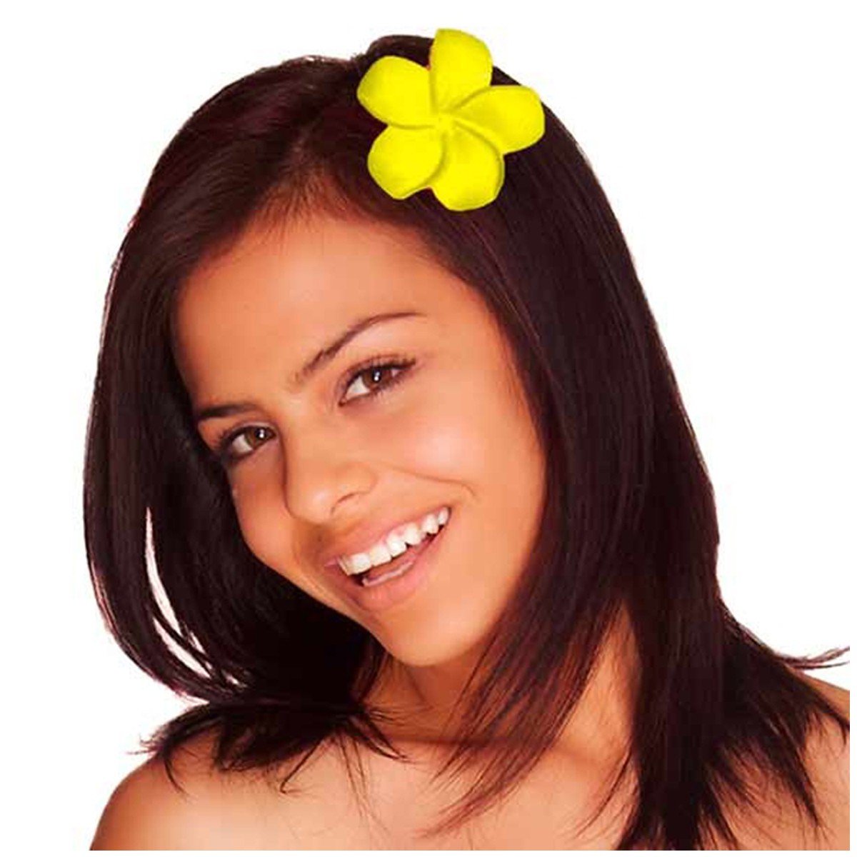 Pince fleur \'Vahiné\' jaune - 5 cm - [Q5874]