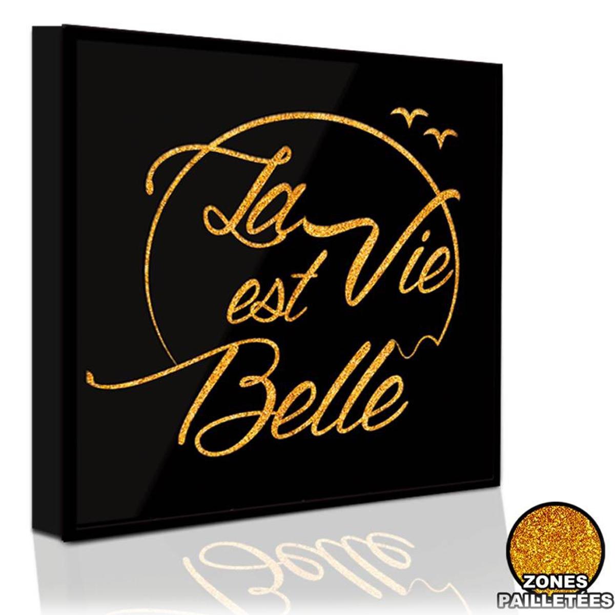 Cadre paillette \'Messages\' (La Vie est Belle) noir doré - 31x31 cm… - [Q5893]