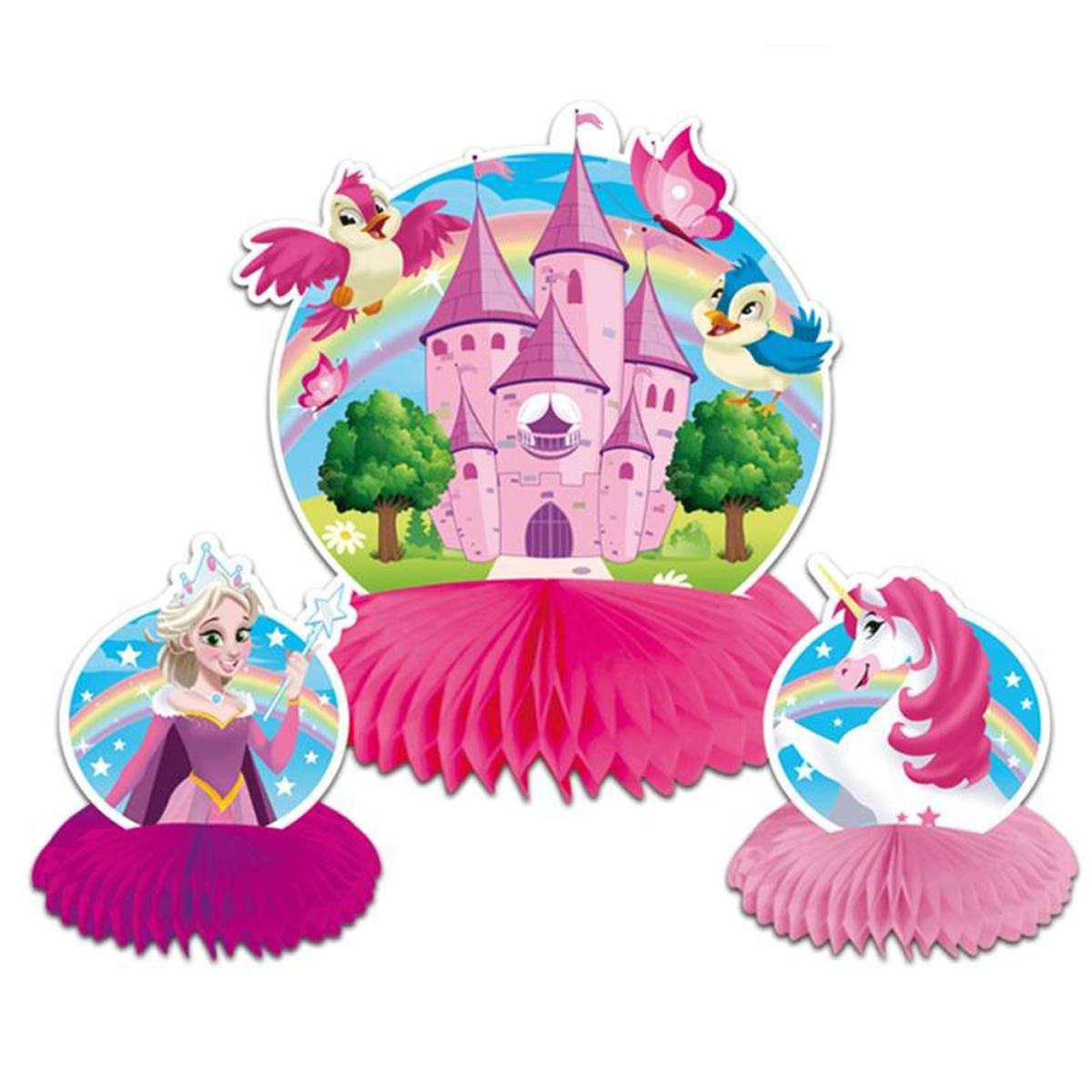 Centre de table \'Princesse\' rose - 24x22 cm (3 pièces) - [Q5965]