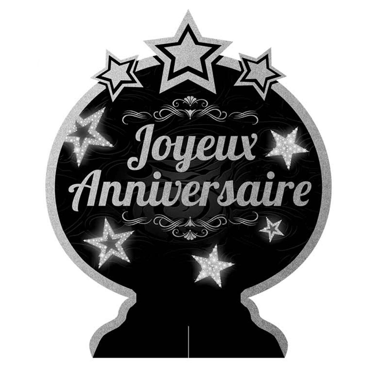 Centre de table \'Joyeux Anniversaire\' noir argenté - 28x23 cm - [Q5966]