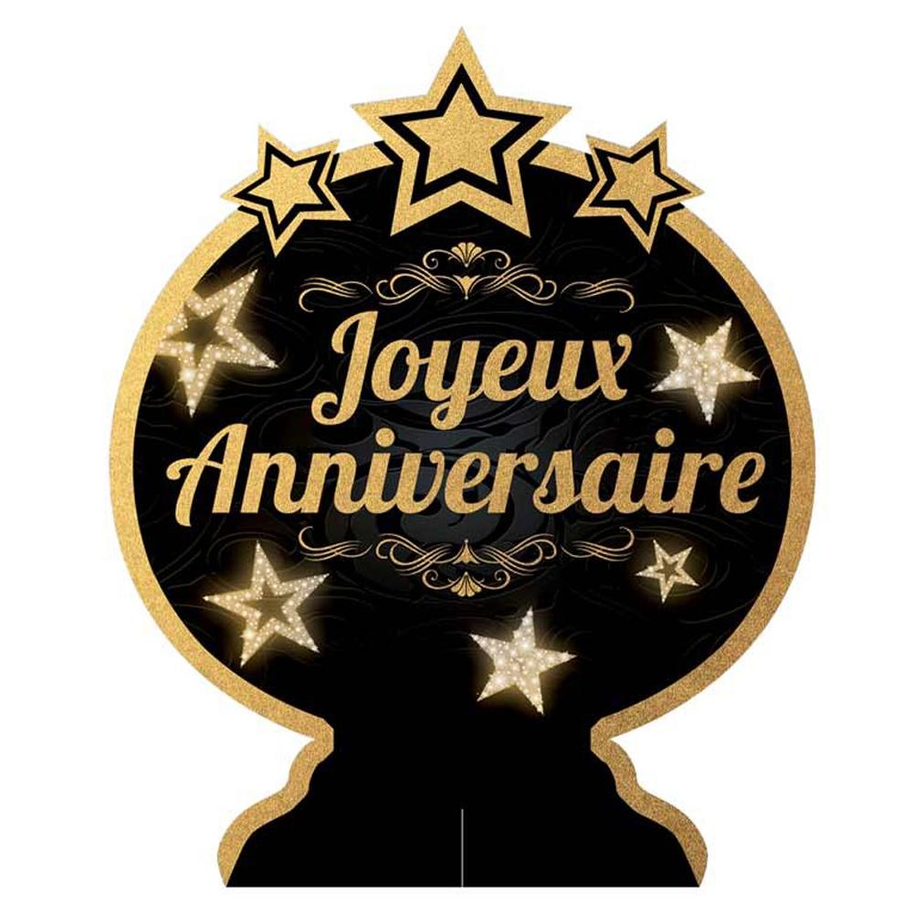 Centre de table \'Joyeux Anniversaire\' noir doré - 28x23 cm - [Q5967]