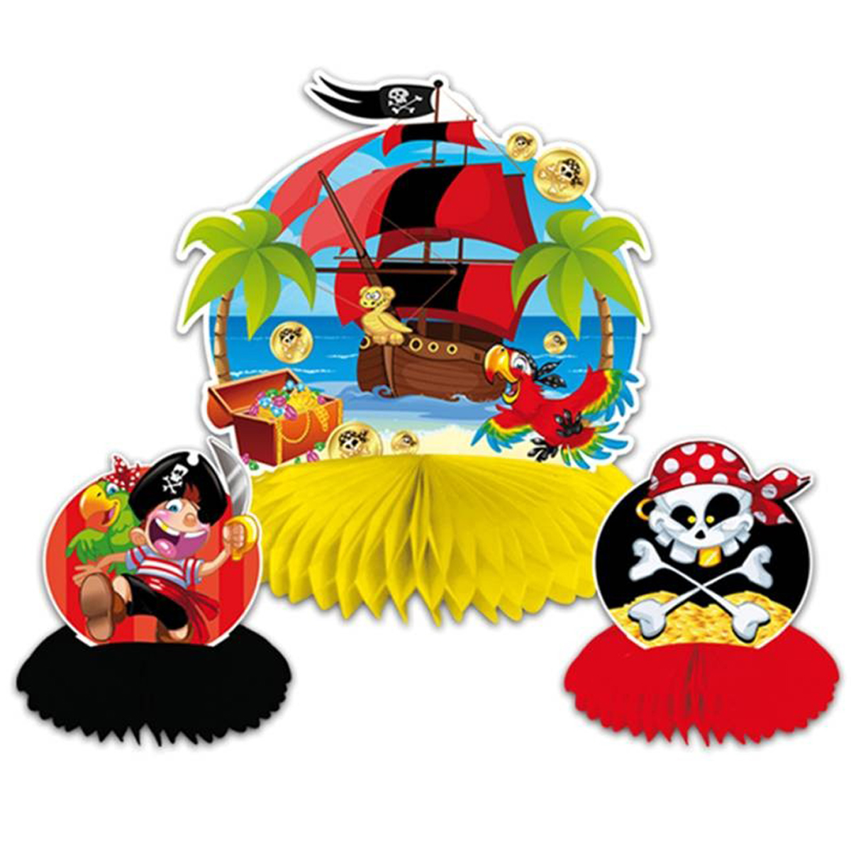 Centre de table \'Pirate\' multicolore - 24x22 cm (3 pièces) - [Q5968]