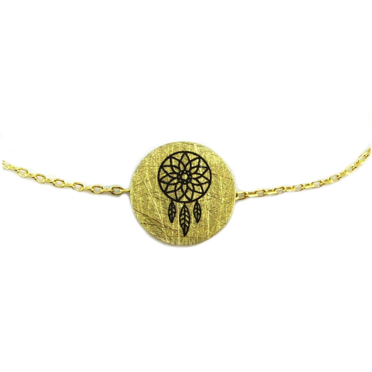 Bracelet artisanal \'Boho\' doré (dreamcatcher) -  12x12 mm - [Q6072]