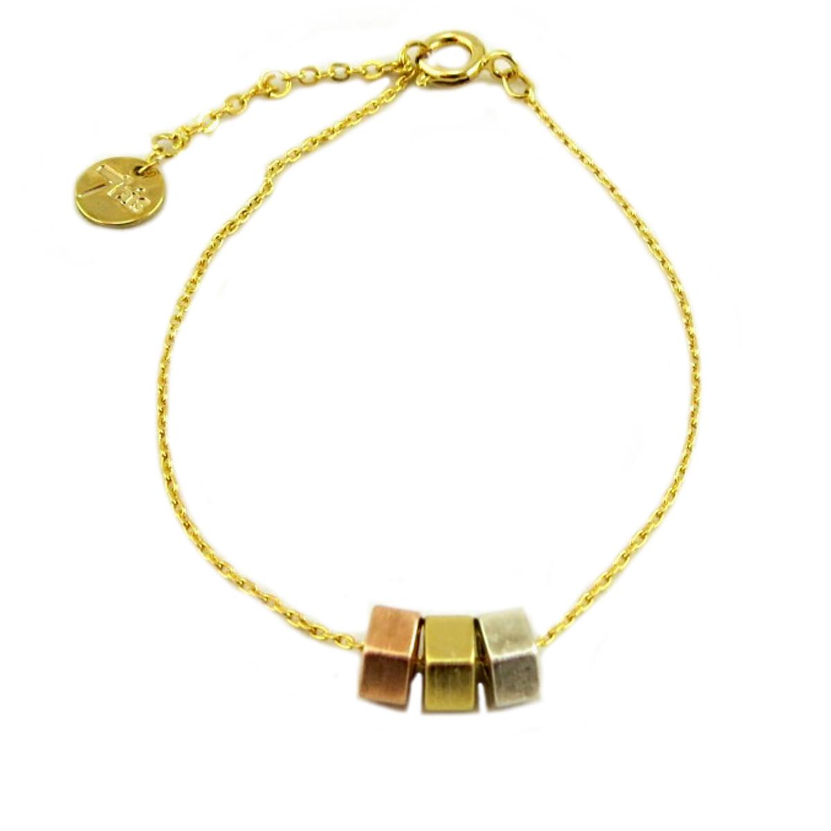 Bracelet artisanal \'Boho\' doré tricolore -  9x7 mm - [Q6082]
