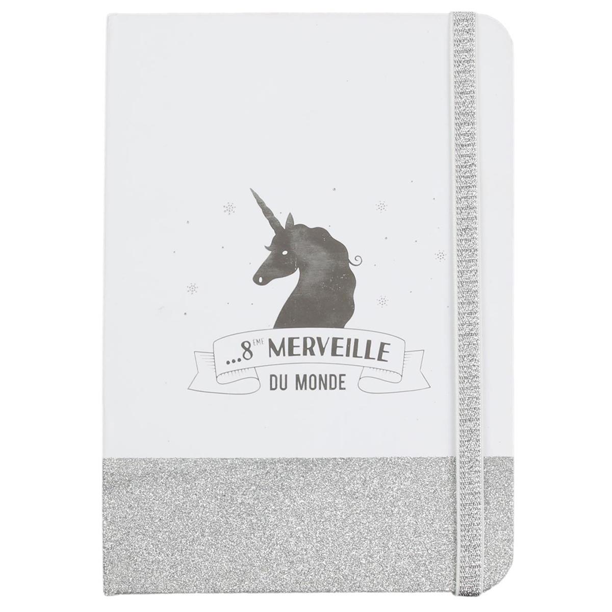 Carnet A5 \'Licorne My Unicorn\' blanc argenté (8ème merveille du monde) - 21x15 cm - [Q3622]