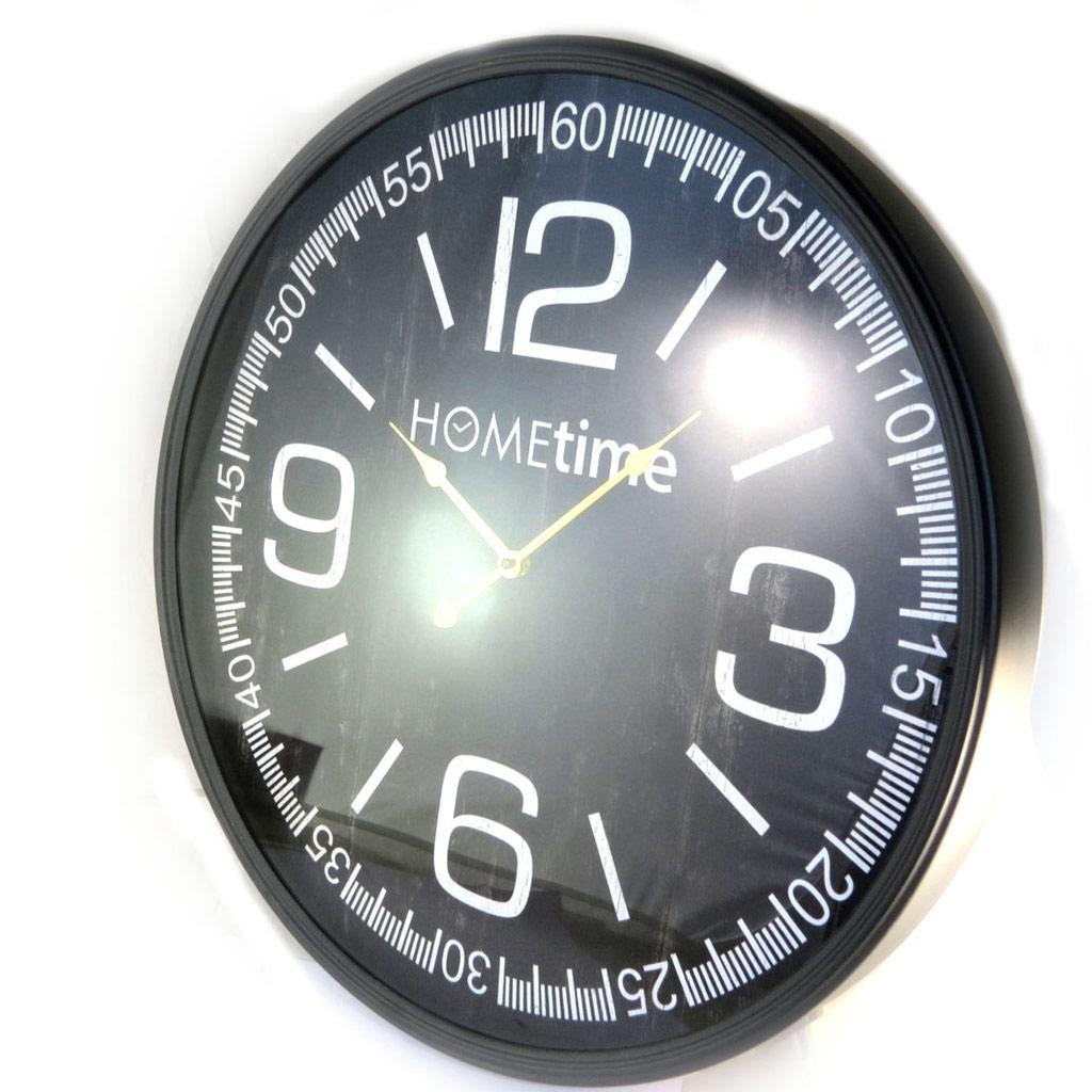 Horloge métal \'Design\' noir - 60 cm - [N8499]