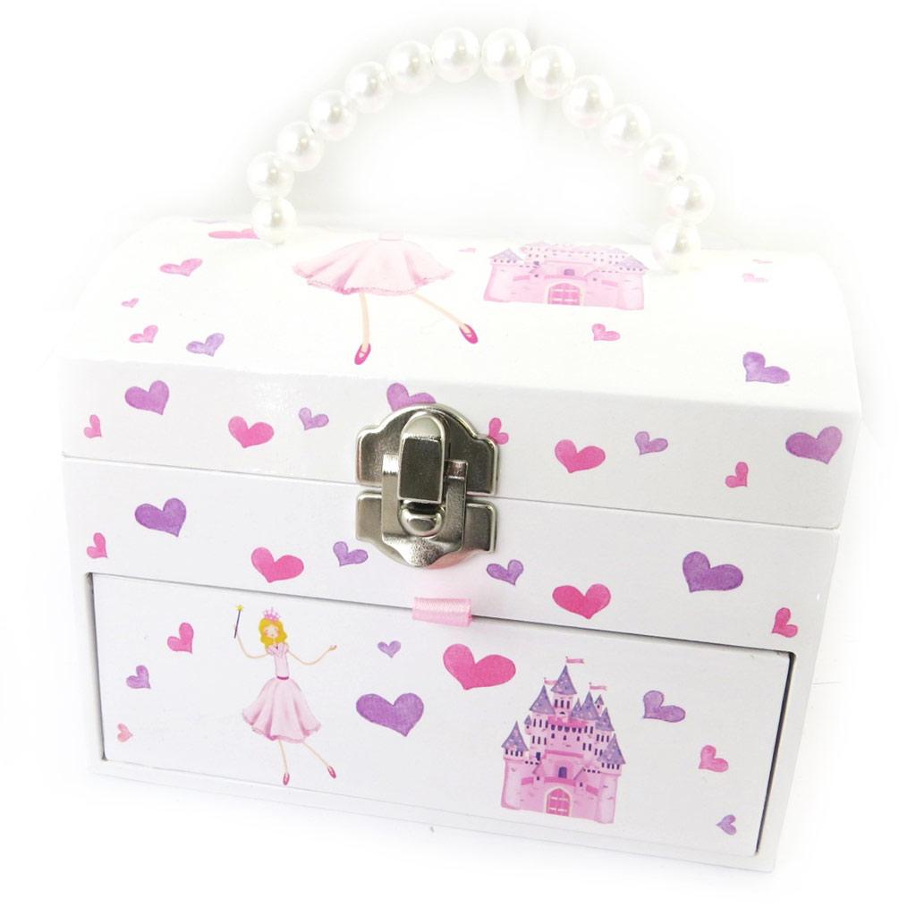 Coffret à Bijoux \'Jolie Princesse\' blanc rose (musical) - 146x122x103 cm - [N5768]