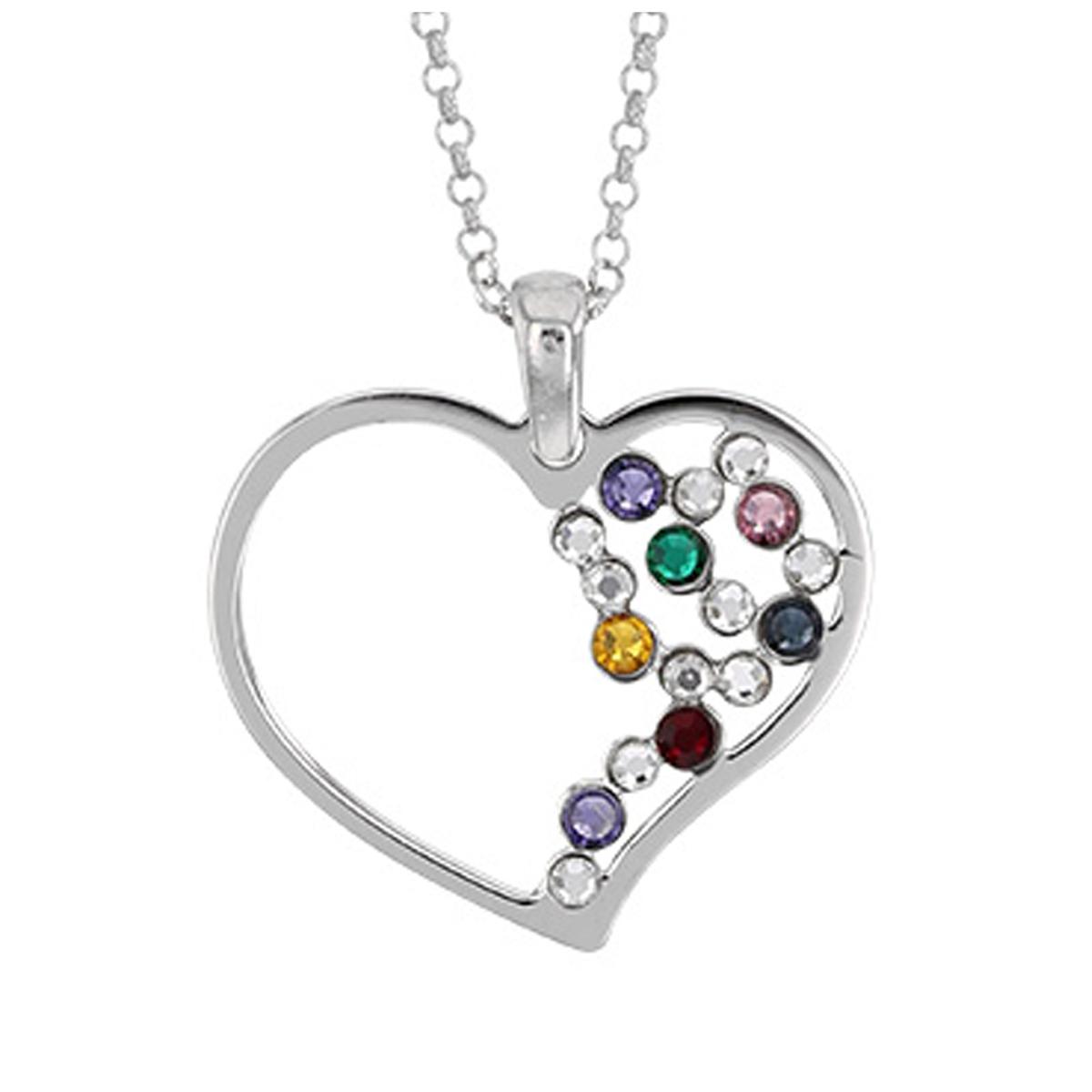 Collier Argent artisanal \'Love\' multicolore argenté (rhodié) - 25x22 mm  - [Q9377]