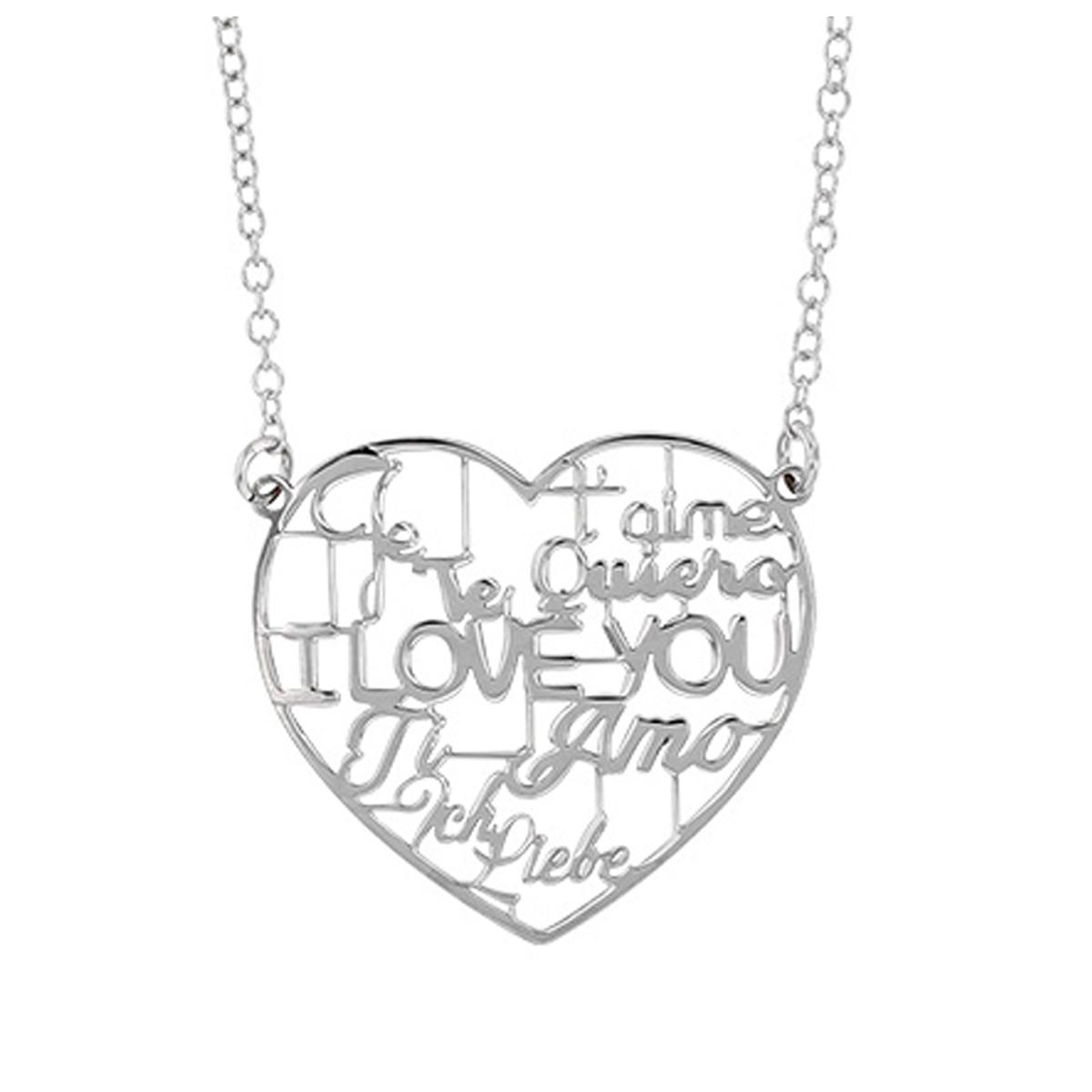 Collier Argent artisanal \'Love\' argenté (rhodié) - 26x25 mm (I love you) - [Q9378]