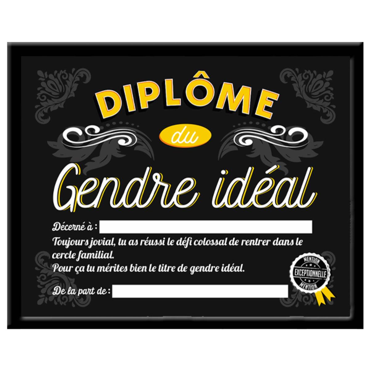 Cadre \'Diplôme du Gendre idéal\' noir - 25x20x15 cm - [A0385]