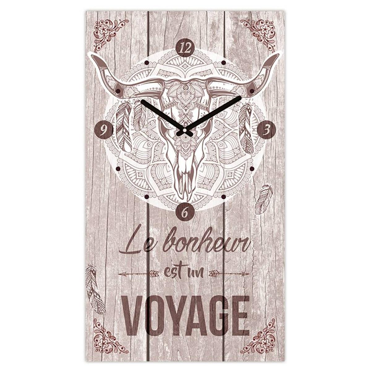 Horloge Murale \'Boho\' taupe (le bonheur est un voyage) - 49x28 cm - [Q3644]