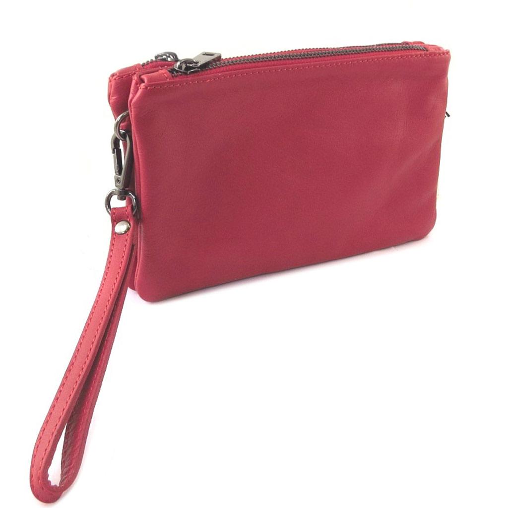 Sac artisanal cuir \'Soleil du Sud\' rouge (2 compartiments) - 21x135x4 cm - [P8987]