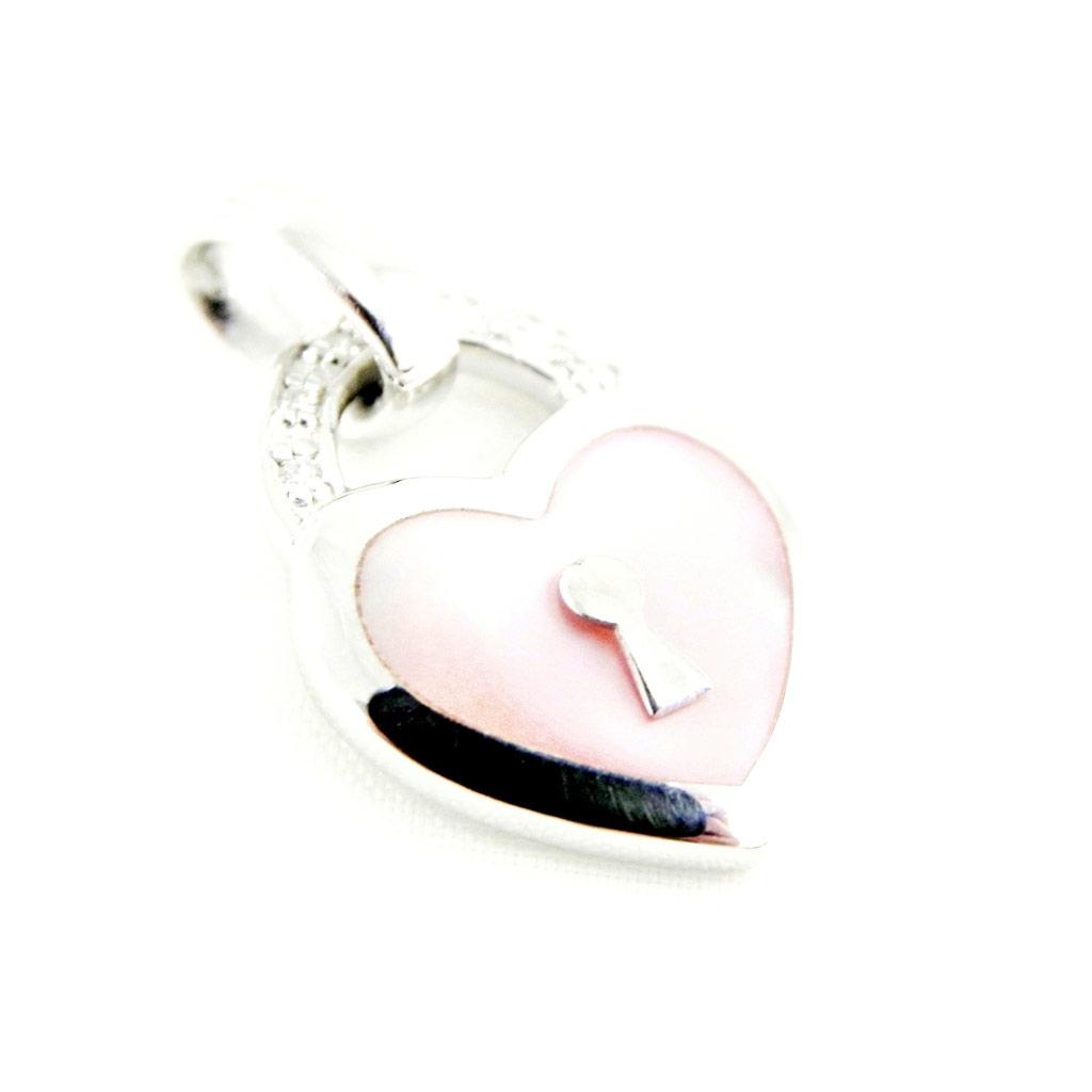 Pendentif Argent \'Love\' nacre rose - [H2992]