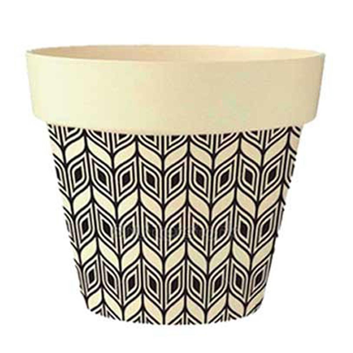 Cache-pot bambou \'Boho\' beige noir -  105x95 cm - [Q6581]