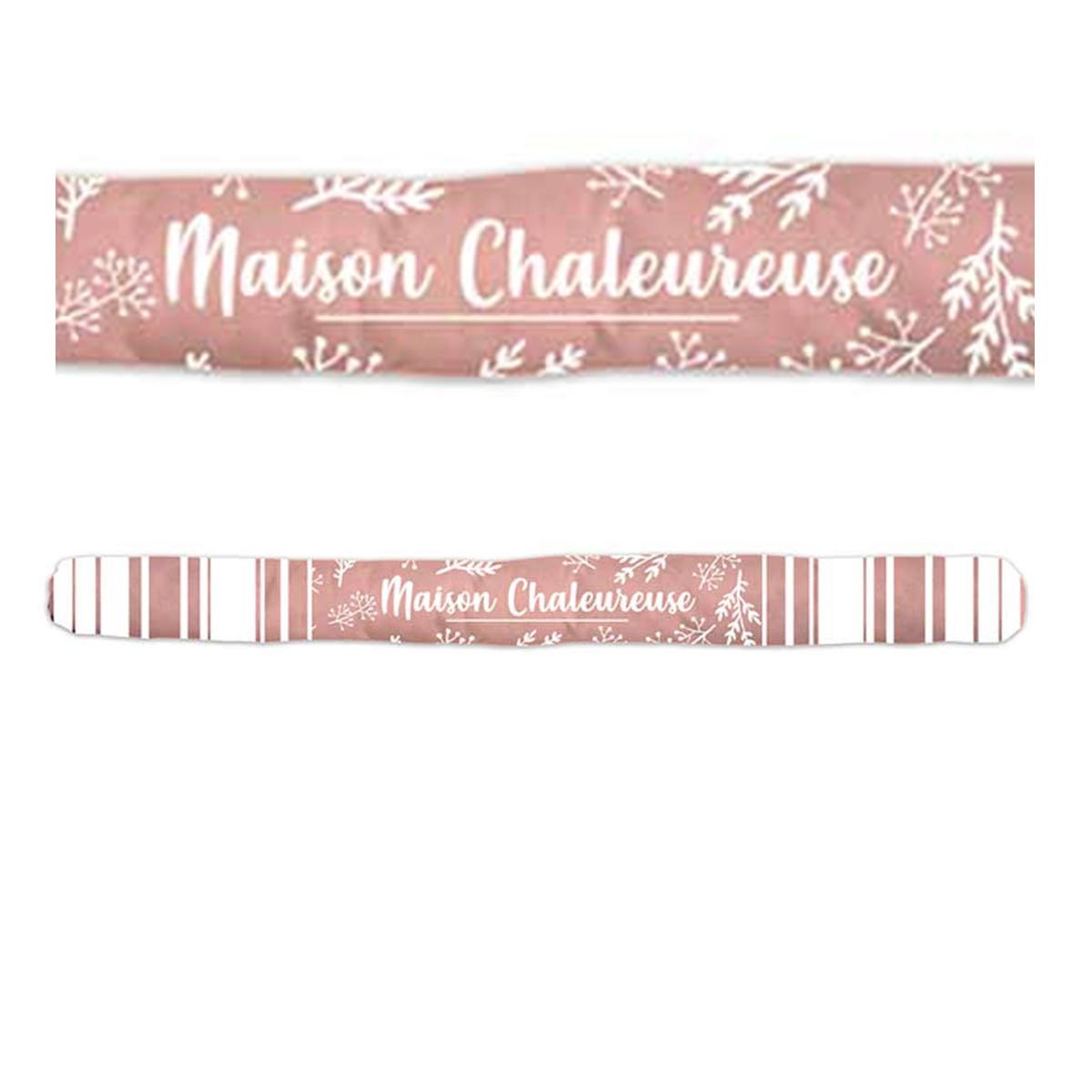 Boudin de porte \'Messages\' rose (Maison Chaleureuse) - 80x7 cm - [A0393]
