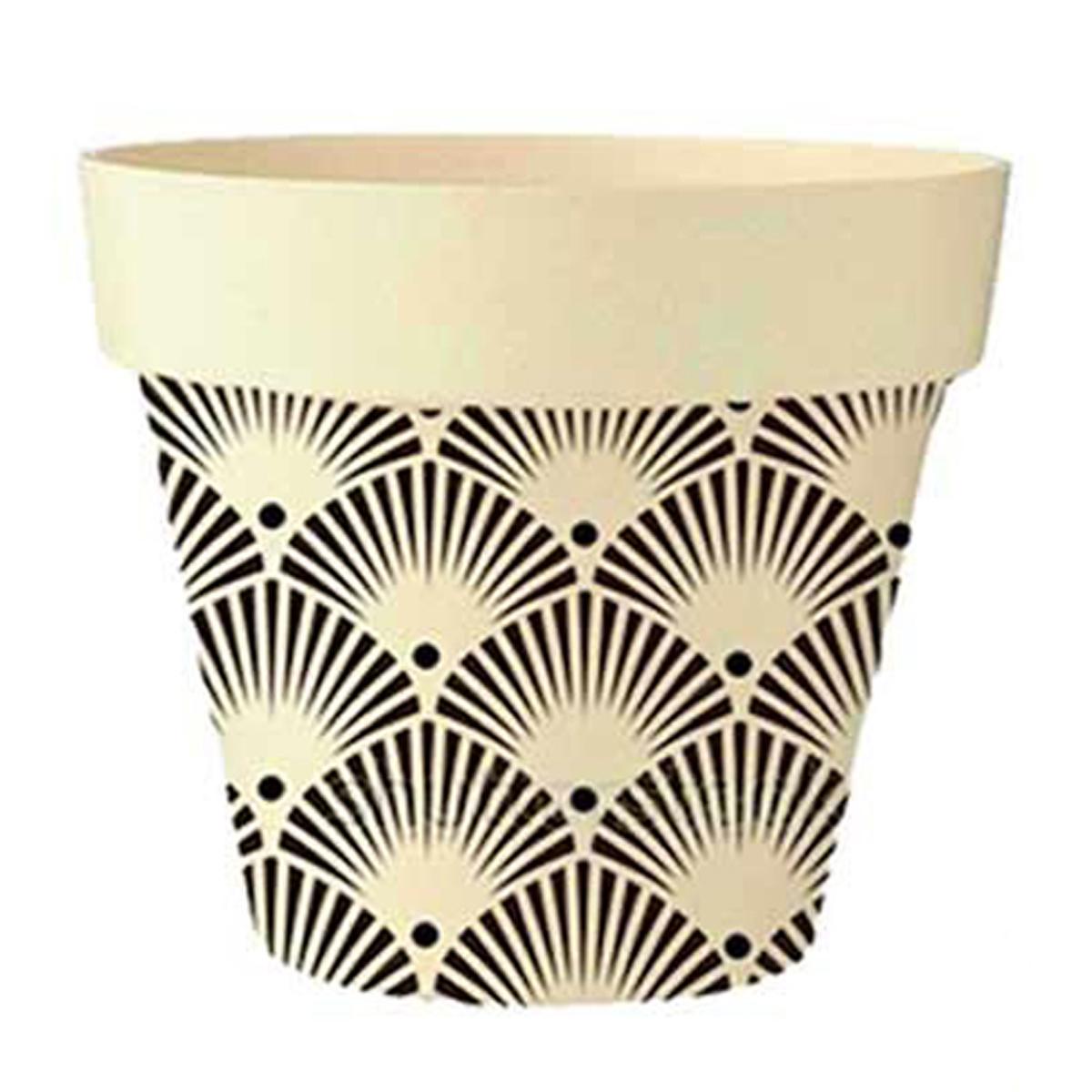 Cache-pot bambou \'Boho\' beige noir -  105x95 cm - [Q6582]
