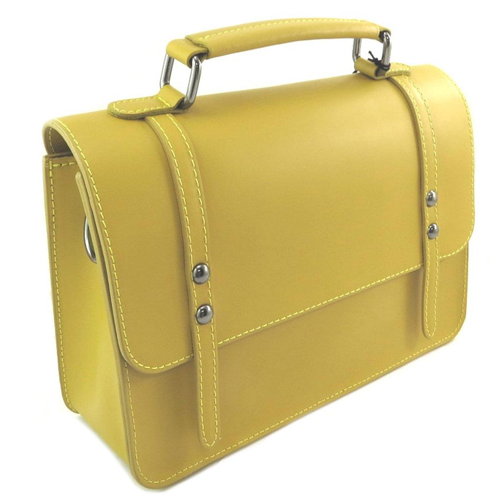 Sac artisanal cuir \'Soleil du Sud\' jaune vintage - 27x195x9 cm - [P8995]