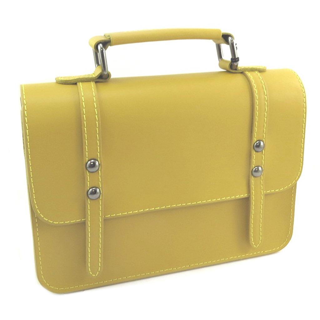 Sac artisanal cuir \'Soleil du Sud\' jaune vintage - 23x17x85 cm - [P8996]