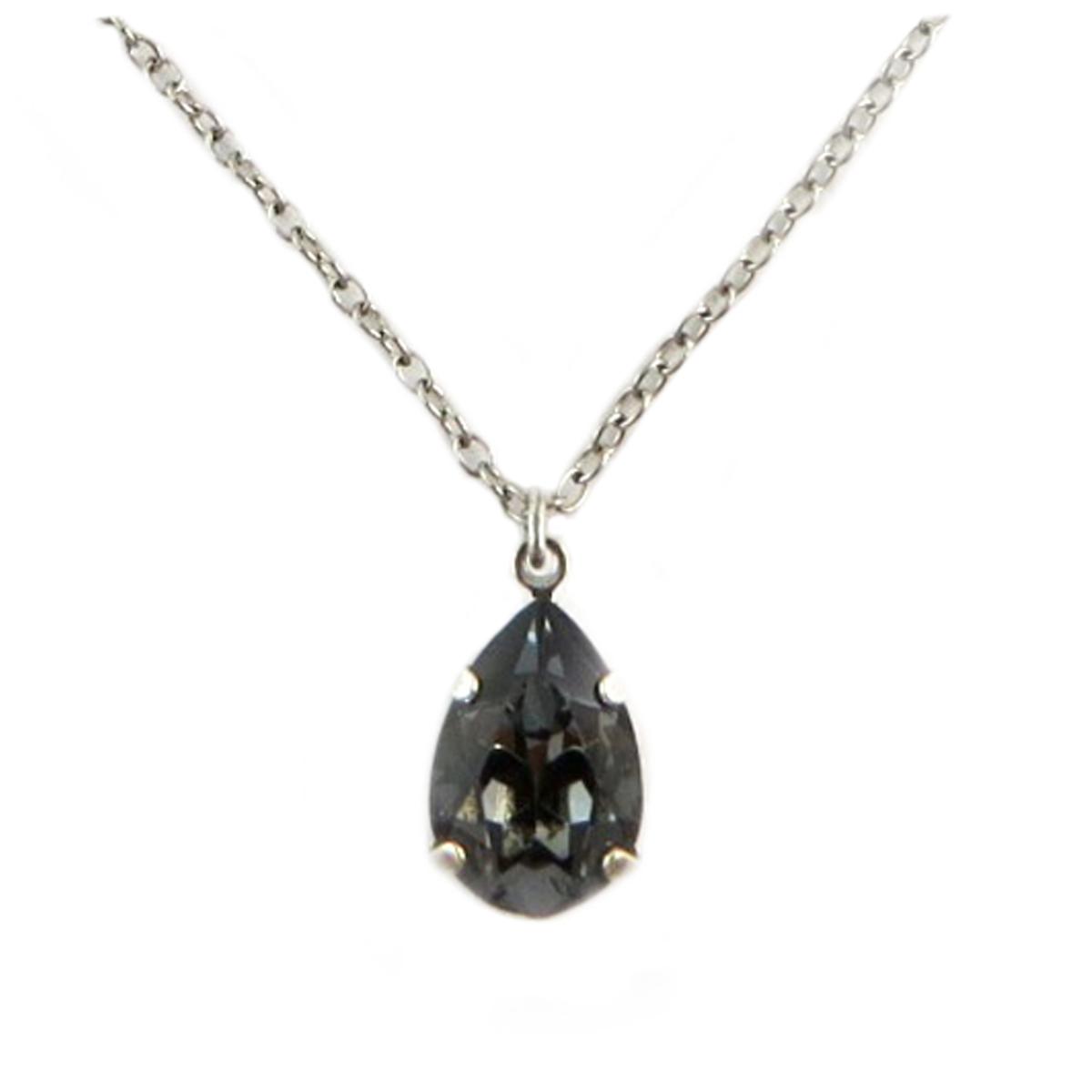 Collier artisanal \'Tsarine\' gris foncé argenté - 15x10 mm - [Q2327]