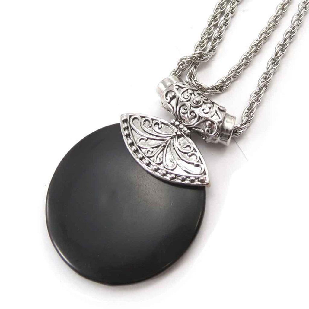 Collier \'Kilimanjaro\' noir argenté (bois) - [J8071]