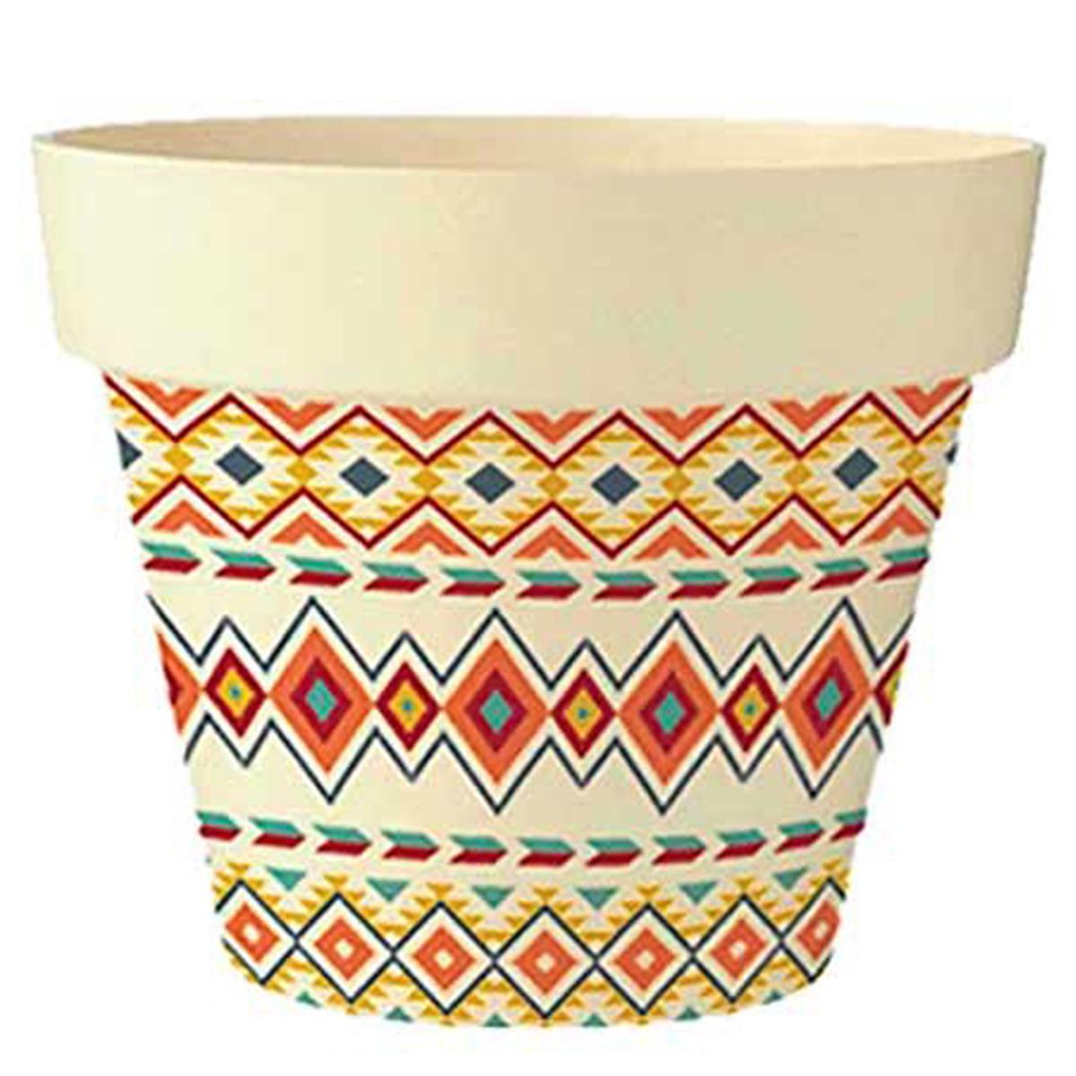 Cache-pot bambou \'Boho\' orange multicolore -  17x18 cm - [Q6588]