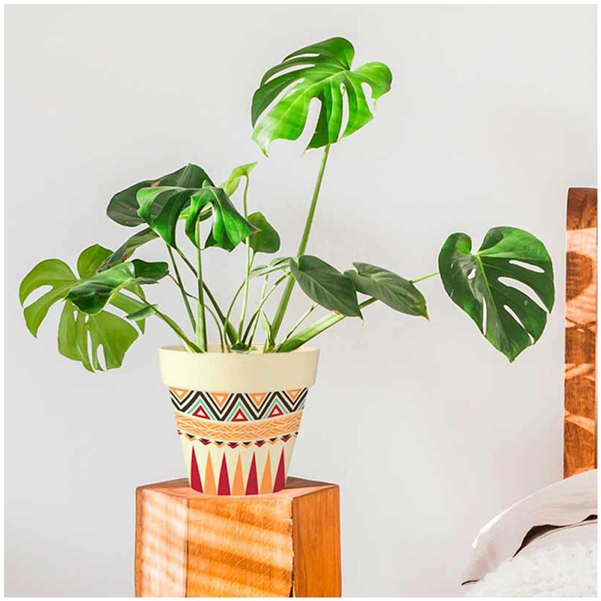 Cache-pot bambou \'Boho\' rouge orange beige -  17x18 cm - [Q6590]
