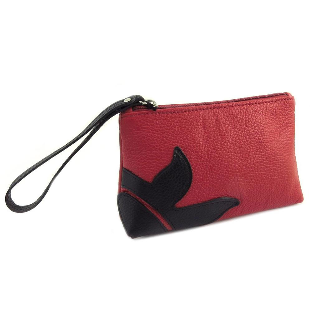 Petit sac artisanal cuir \'Soleil du Sud\' rouge noir - 195x115x5 cm - [P8999]
