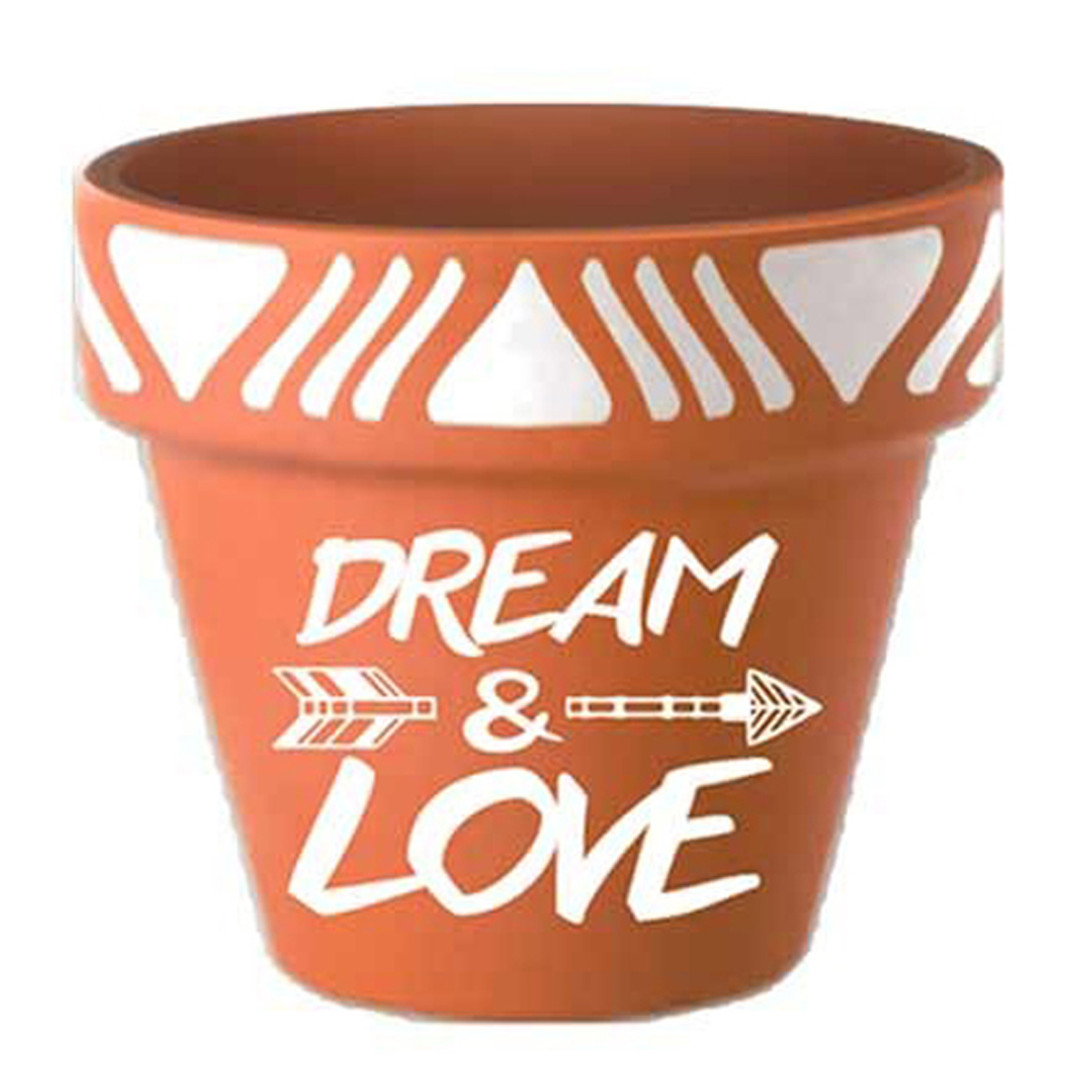Pot terre cuite \'Boho\' orange (Dream & Love) - 18x185 cm - [Q6595]