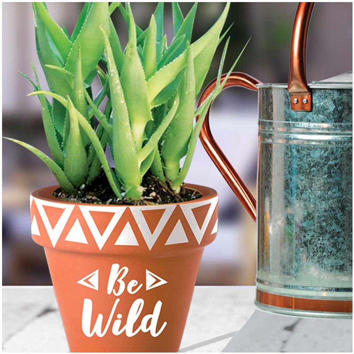 Pot terre cuite \'Boho\' orange (Be Wild) - 18x185 cm - [Q6597]