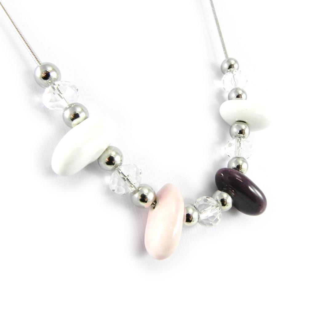 Collier \'Minéralia\' rose violet - [H3028]