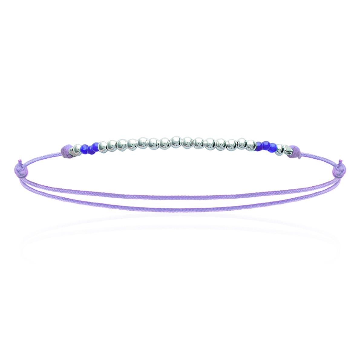 Bracelet Argent \'Billes\' mauve argenté - 50x2 mm - [K5171]