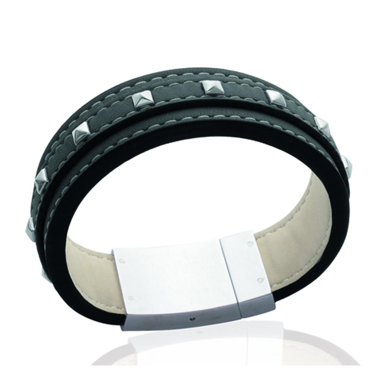 Bracelet mixte \'Peaceful\' noir / acier - 18 mm - [K5177]