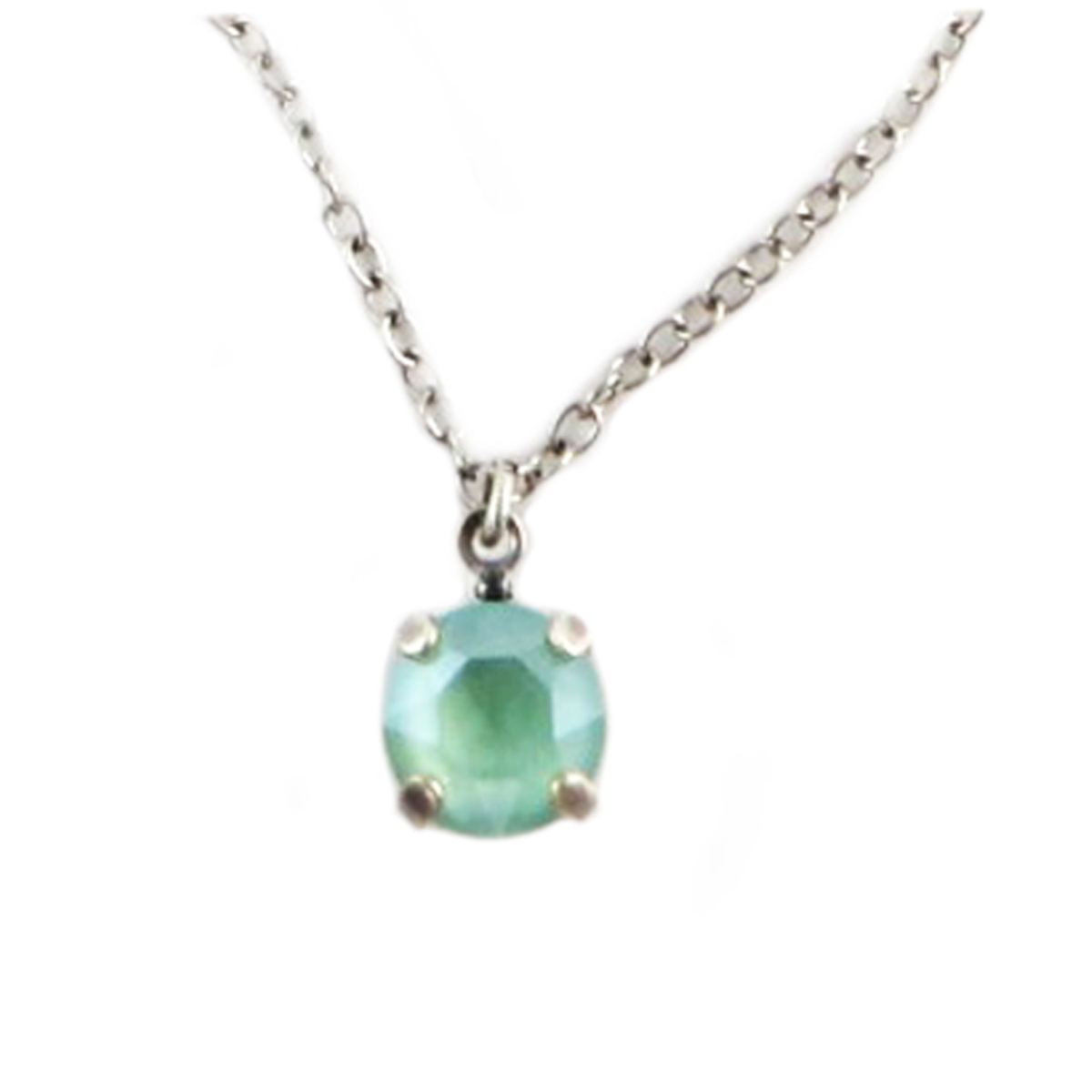 Collier artisanal \'Tsarine\' vert clair argenté - 8 mm - [Q2353]