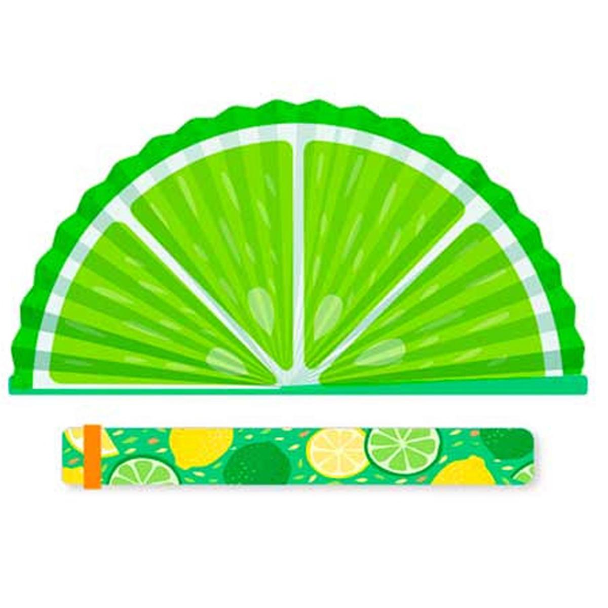 Eventail papier \'Citron Vert\' vert - 19x2 cm - [R2106]