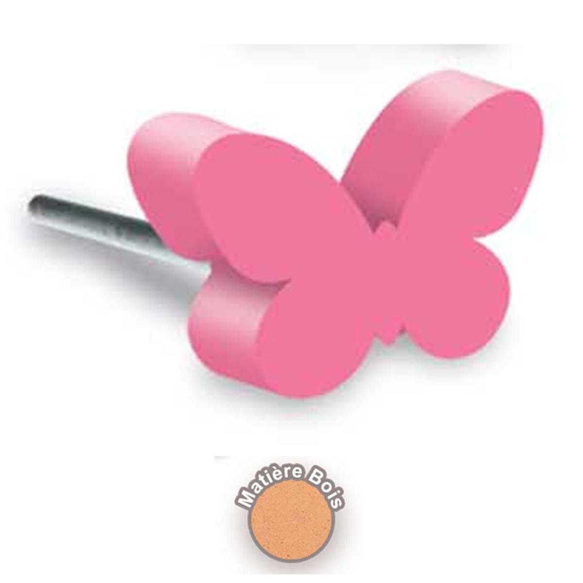 Bouton meuble bois \'Papillon\' rose - 8x4 cm - [R2113]