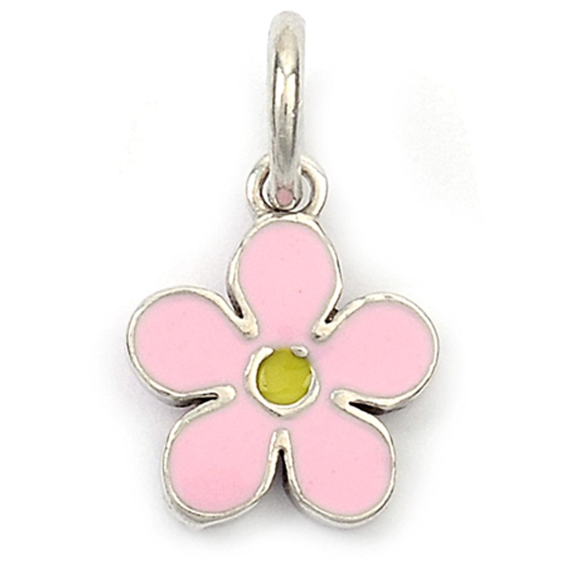 Pendentif Argent \'Flora\' rose argenté (rhodié) -  8 mm - [Q9437]