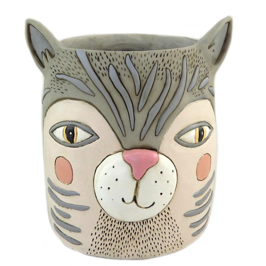 Cache pot design \'Allen Designs\' gris (chat) - 19x16 cm - [P9065]