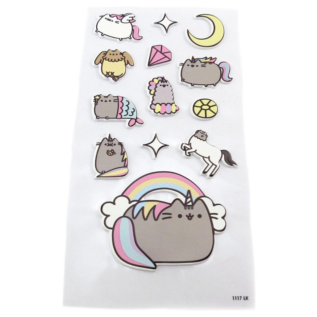 Planche de 13 stickers \'Pusheen\' gris pastel - 185x9 cm - [P9068]