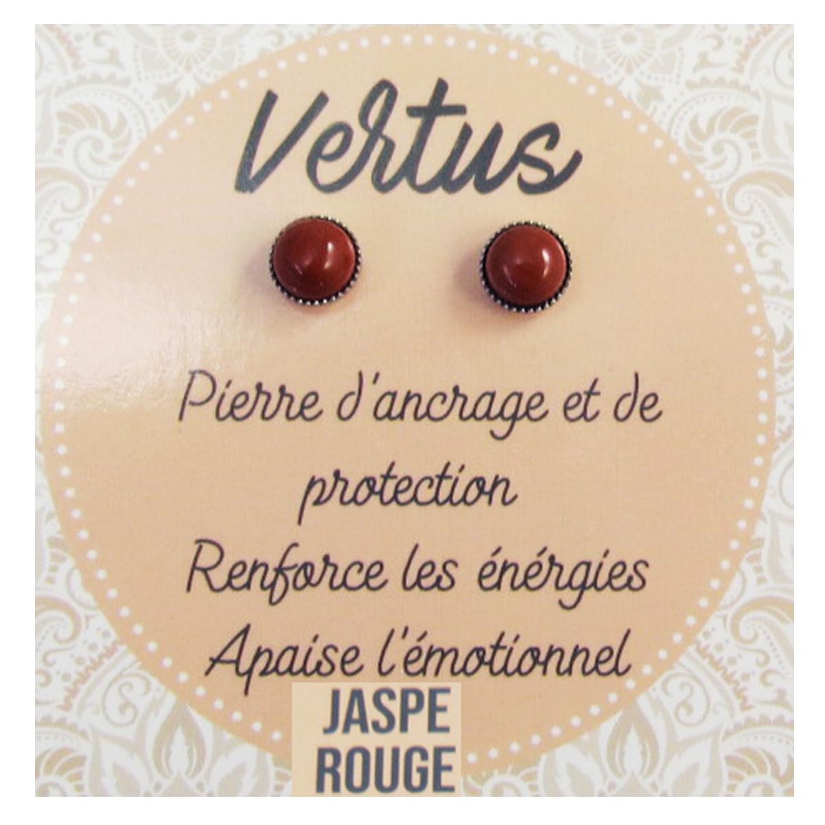 Boucles \'Mineralia\' jaspe rouge - 6 mm  - [R2135]