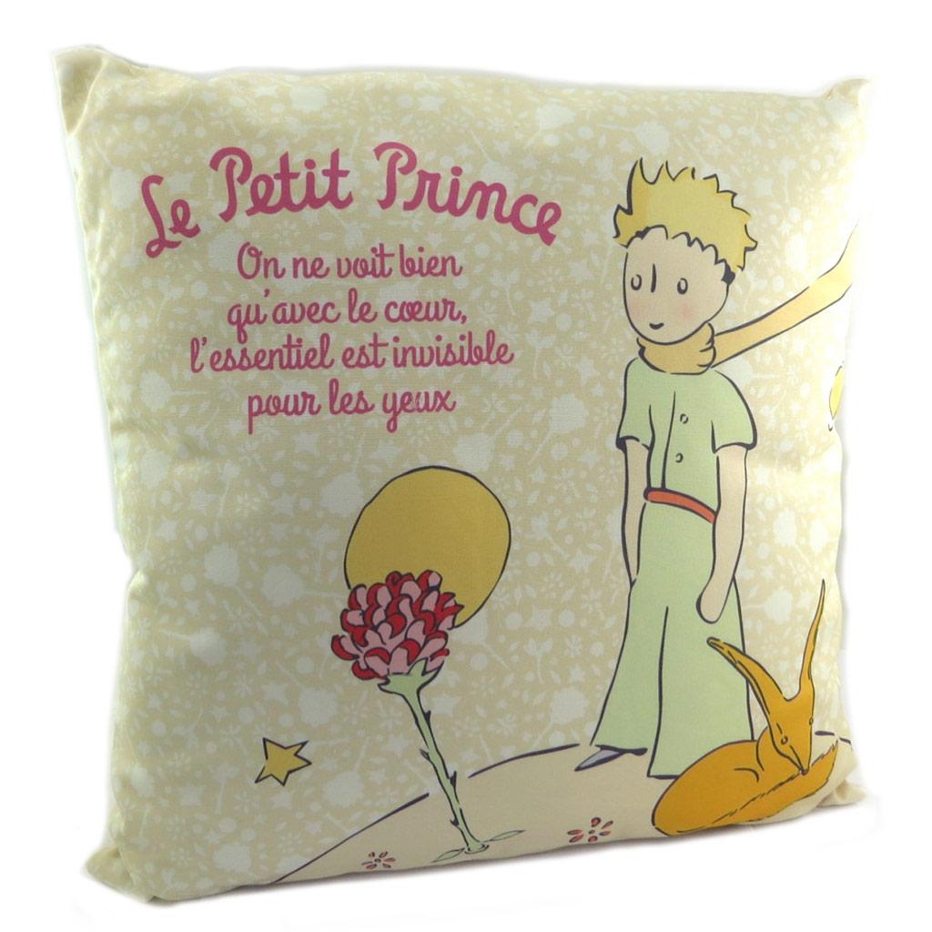 Coussin créateur \'Le Petit Prince\' beige - 44x44 cm - [P9074]