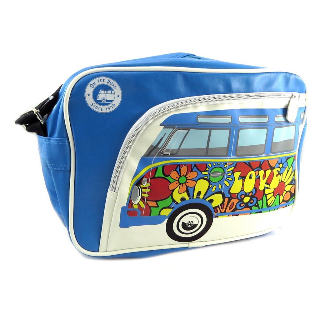 Sac bandoulière \'Volkswagen\' bleu multicolore - 35x25x11 cm - [P9076]